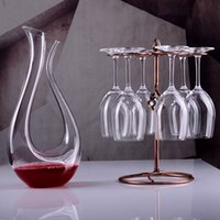 Wholesale 1 set new Crystal glass wine glass suits Crystal decanter wine goblet glass frame Fashion household wine glass goblet