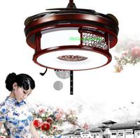 Wholesale LED stealth fan lamp Chinese mahogany wood retro minimalist living art ceiling fan light modern home restaurant