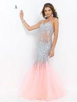 Wholesale 2016 Trumpet Mermaid Spaghetti Straps Rhinestone luxury Backless Sleeveless Floor length Tulle Prom Dresses Evening Dresses