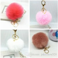 Wholesale Cute Faux Rabbit fur ball plush key chain for car key ring Bag Pendant car keychain