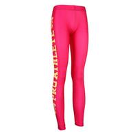 athlete wear - Good Smooth Women Fitness Leggings Pink Yellow Letters Pro Athlete Digital Printed Women Sport wear Ladies Capris Pants
