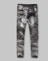 Wholesale 2016 Men s men Jeans Balmain Biker Jeans Designer Denim Skinny JeansGrey New with tags Size