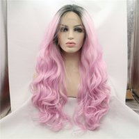 Wholesale Fashion honey pink ombre wig with dark roots premium black to pink body wave synthetic lace front wig heat resistant fiber hair in stock