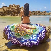 Wholesale 2016 cm cm New Summer Large Printed Round Beach Towels Circle Beach Towel Serviette DHL