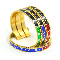 Wholesale Hot Sale Ltalian Style New Fashion Jewelry L Stainless Steel Cuff Bracelet Speedometer Official Bracelet Men Color Gold Bracelet