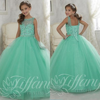 Wholesale Beautiful Mint Green Ball Gown Girls Pageant Dresses lace up back kids pageant prom gowns Lovely flower girl dress jewel custom made