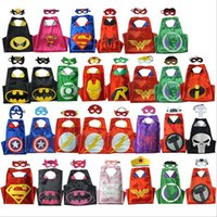 Wholesale High quality style Double side kids Superhero Batman Spiderman Turtles Flash Supergirl Batgirl Robin Halloween Capes and masks cm