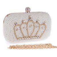 Precio de Señoras monederos moldeado-17cm Handmade Evening Clutch Purse corona Moda Lady Designer Diamante Crystal rhinestone perla rebordeada Bolsa de noche
