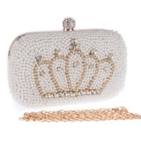 beaded clutch bags - 17cm Handmade Evening Clutch Purse crown Fashion Lady Designer Diamond Crystal rhinestone pearl beaded Evening Bag