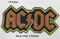 ac dc clothing - Brown AC DC Iron on embroidery patch embroidery patches logo embroidery patches embroidery patches for clothing custom embroidery patches