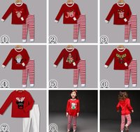 Cheap 2017 Chirstmas Children Santa Pajamas Red Cotton Cartoon Family Boys Girls Striped 2pc Set Casual Kids Sleepwear Suits Clothes 2-8years