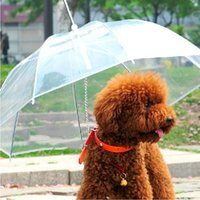 Wholesale Useful Transparent PE Pet Umbrella Small Dog Umbrella Rain Gear with Dog Leads Keeps Pet Dry in Rain Snowing WA1287