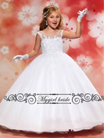 Wholesale First Communion Vintage Ball Gown Flower Girl Dresses Floor Length Beaded Lace Girls Dresses Special Occasion
