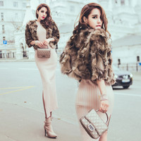 Wholesale Hot Luxury Real fox fur coat women winter ladies sleeve high quality Argyle thin slim genuine short fox fur jacket plus size