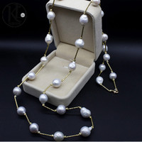 Wholesale 10 mm Cultured Baroque freshwater Natural pearl tin cup necklace sterling silver necklace