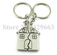 antique houses for sale - HOT SALE New Practical Romantic House Shape Keychain Key Ring for Lovers