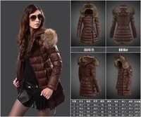 Wholesale Brand women Winter Down Jackets solid with fur trim hoodies Down long button Trench Overcoat Sizes S XL drop shipping