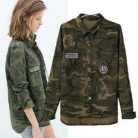 army female uniform - European And American Wind Camouflage Uniforms embroidery badges female printing shirt style casual jackets thin jacket C3T9