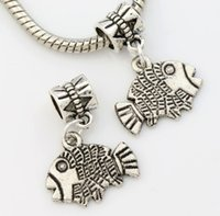 flounder fish - Hot x17 mm Antique Silver Flounder Fish Big Hole Beads Dangle Fit European Charm Bracelets Jewelry DIY B036 Alloy