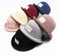 Wholesale New arrival ROCK cap Christmas retro cm British style brim hat dome caps small hat winter cap Fish hat basin Patch Curling cap hat