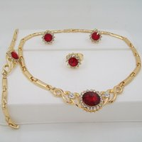 Wholesale Fashion Red Pearl Imitation Zircon Necklace Padent In Europe And The United State Hot Selling Jewelry Sets