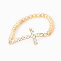 Wholesale Fashion Infinity Love Cross Charm Bracelets Gold Silver Color Pearl Style Crystal Stretch Bangles Beaded Strands Bracelet Rhinestone DHB104