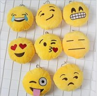 Wholesale Hot New Children s Day Key Chains cm Emoji Smiley Small pendant Emotion Yellow QQ Expression Stuffed Plush doll toy for Mobile bag pendant