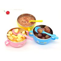 Wholesale New Fasion Children Kids handle Soup bowl Container Dish Stainless Steel Nonslip Colour Pink Yellow Blue Hot Good Quality