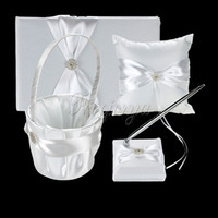Blanc en dentelle de ruban de satin Bow Guest Book Set Pen Ring Pillow Flwer Girls Basket pour décorations de mariage Décorations