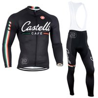 Wholesale 2015 Winter Autumn Fleece None Fleece Cycling Jersey Set Long Sleeve Black Cycling Clothes Cycling Tops Padded Trousers Bike Suit S XL