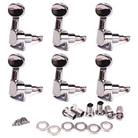 acoustic machine heads - 6R Guitar Tuning Pegs Tuners Machine Heads chrome Sunken Buttons Right Hand Chrome Finish for Acoustic Electric Guitar