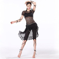 belly dancing clothing - Belly Dance Training Clothes Women Swallow Tail Dress with Black Leggings Cross Strap Armbands Lace Set for Bellydance
