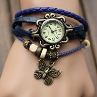 antique butterfly table - Antique watch foreign trade fashion leather wrapped bracelet watch bracelet watch Ms Child table the butterfly hanging ornament