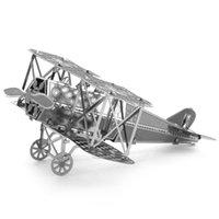 Wholesale zhangzihan Model Toys Aircraft Modle Creative D Laser Cute Models Metallic Fokker DV11 Biplane Nano Puzzle Silver