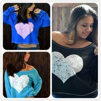 bell sleeves pattern - Heart Pattern Fasion Cotton Women Long Sleeve Chiffon Shirt Women Shirts Summer Slim Short For Ladies Pint Tops