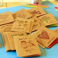 Wholesale High grade New Creative Delicate Hollow Out Kraft Paper Birthday Greeting Card Elegant Envelope Lovely Gift Card Material Escolar