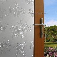 Wholesale No Glue Static Cling Window Film Bathroom Office WC Window Glass Film Applique Translucidus Sunscreen Peony Window Stickers x CM