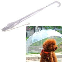 Wholesale High quality Useful Transparent PE Pet Umbrella Small Dog Umbrella Rain Gear with Dog Leads Keeps Pet Dry Comfortable in Rain Snowing