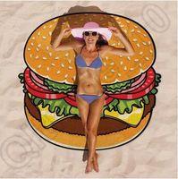 baby high quality mat - 100pcs CCA4402 High Quality Design Round Donut Pizza Hamburger Towel Beach Cover Ups Sexy Beach Towel Chiffon Swimsuit Cover Up Yoga Mat