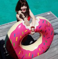 Wholesale New cm Donut Human Swimming Float Inflatable Swimming Ring Adult pool floats pink chocolate
