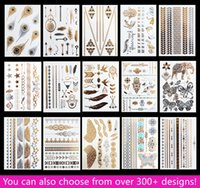 hand and foot - 15pcs Temporary Waterproof Flash Tattoos Non toxic Metallic Tattoo Hot Sale Women Tattoo Jewelry And Body Tattoo
