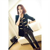 agent korea - The Korea Dongdaemun autumn new black and the wind buckle of gold wool cardigan free agent Napoleon