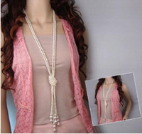 Wholesale High quality imitation pearl concise temperament is of super long necklace Fashion sweater chain pearl single and double layer