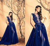 achat en gros de robes murad personnalisés zuhair-2017 Zuhair Murad Navy Sheer Crew Neck manches robes de soirée perlée Custom Made Tulle haute fendus longues robes de bal avec des poches BO9745