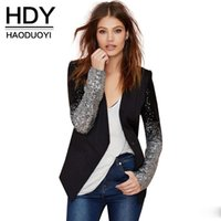 Wholesale HDY Haoduoyi Women Fashion Autumn Silver Sequined Full Sleeve Pu Patchwork Single Button Slim Coat Jacket