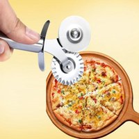 Wholesale Multifunctional Full Roller Stainless Steel Double Pizza Cutter Tool With Round Lace Wheel Siver Color new arrival