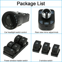 audi electric cars - 6pcS OEM Car Headlight Control Electric Power Window Switch Rear View Mirror Adjust Knob Switch Control Kit for Audi A4 B6 DHL K4187