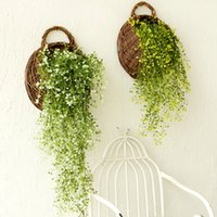 willow basket - Artificial Plants Wall Pastoral Home Decorations Creative Perspective Willow Basket Flower Decoration American Country Wall Hangings GJ24