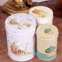 Wholesale 3 Retro Vintage Tea Pot Cake Cupcake Kitchen Coffee Tea Sugar Candy Biscuit Container Jar Tin Metal Zakka