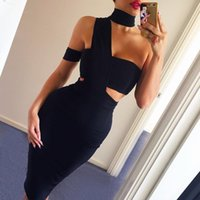 Cheap 2016 New Elegant Choker Top Design Inspired Tube Midi Length HL Party Celebrity Bandage Dress